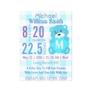 Blue baby boy birth stats wall decor art canvas print