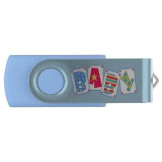 Blue Baby Boy Custom Swivel USB Drive