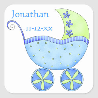 Blue Baby Buggy Boy Name Birth Date Announcement Square Sticker