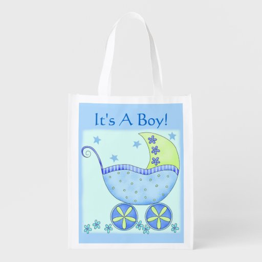 Blue Baby Buggy Carriage It's A Boy Market Tote