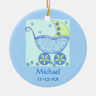 Blue Baby Buggy Carriage Name Birth Date Custom Ceramic Ornament