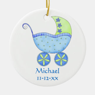 Blue Baby Buggy Carriage Name Birth Date Custom Ornaments