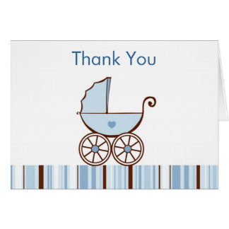 Blue Baby Buggy Thank You Note Cards