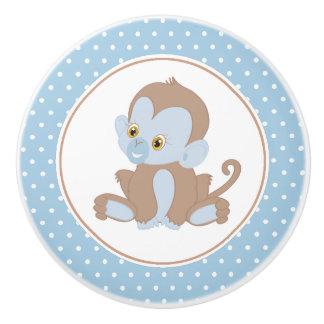 Blue Baby Chimpanzee Polka Dot Ceramic Knob