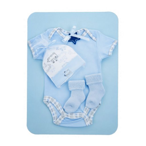 Blue baby clothes for infant boy rectangular magnets