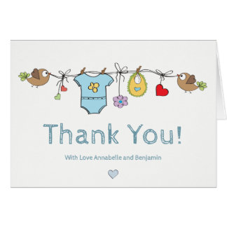 Blue Baby Clothes | Thank You Baby Shower Notecard