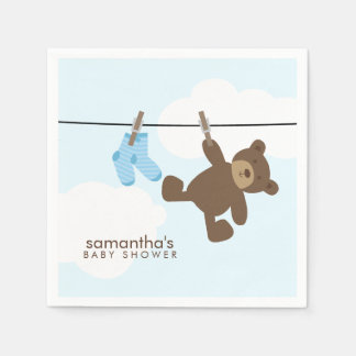 Blue Baby Clothesline and Teddy Bear Disposable Serviette