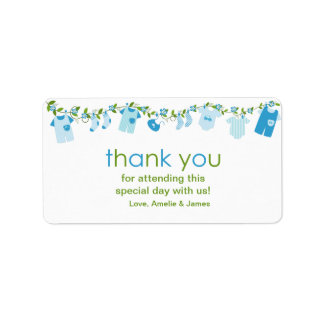 Blue Baby Clothesline Thank You Label