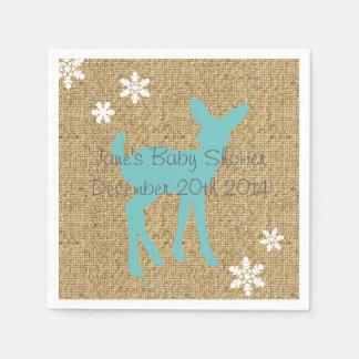Blue Baby Deer and Snowflakes Burlap Napkins Paper Serviettes