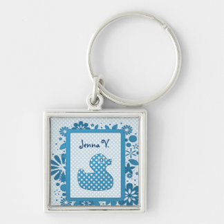 blue baby ducky Silver-Colored square key ring