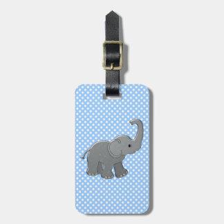blue baby elephant luggage tag