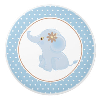Blue Baby Elephant Polka Dot Ceramic Knob
