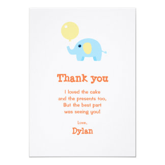 blue baby elephant with balloon card
