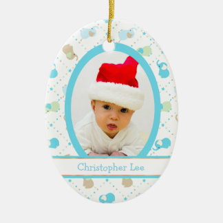 Blue Baby Elephants First Christmas Photo Template Ceramic Ornament