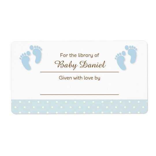 Blue Baby Feet Bookplate Label Sticker Shipping Label