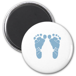 Blue baby footprints 6 cm round magnet