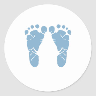 Blue baby footprints classic round sticker