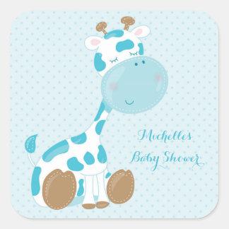 Blue Baby Giraffe and Polka Dots Square Sticker