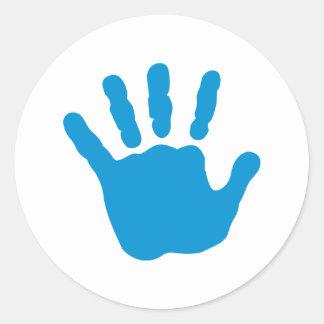 Blue baby hand classic round sticker