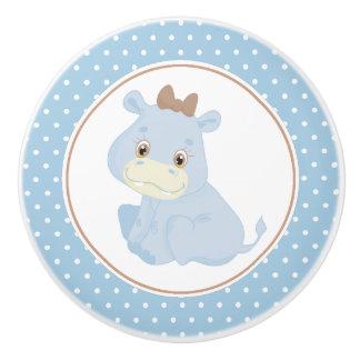 Blue Baby Hippopotamus Polka Dot Ceramic Knob