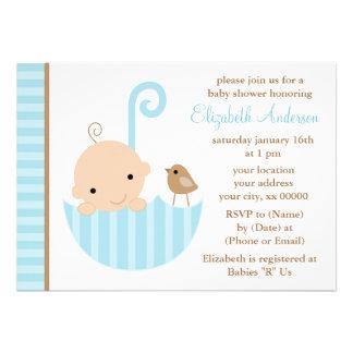 Blue Baby in Umbrella Baby Shower Custom Invite