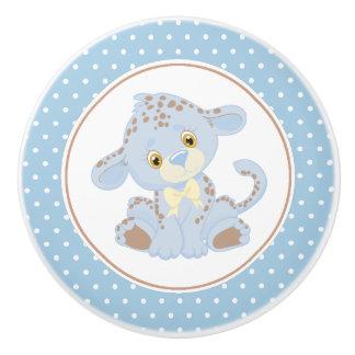 Blue Baby Leopard Polka Dot Ceramic Knob