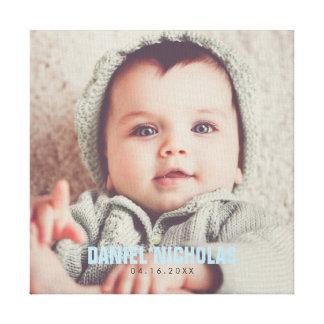 Blue Baby Name Photo Canvas Print