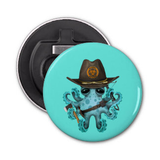 Blue Baby Octopus Zombie Hunter Bottle Opener