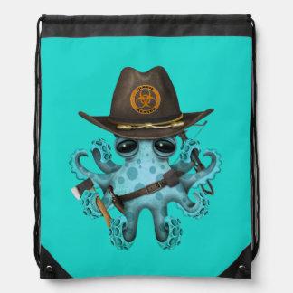 Blue Baby Octopus Zombie Hunter Drawstring Bag