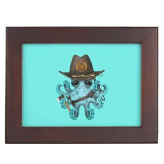 Blue Baby Octopus Zombie Hunter Keepsake Box