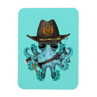 Blue Baby Octopus Zombie Hunter Magnet