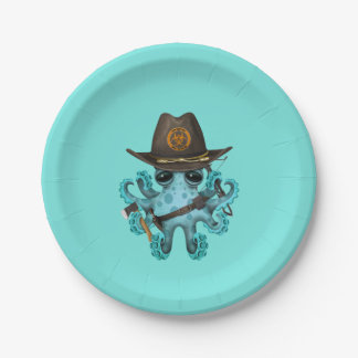 Blue Baby Octopus Zombie Hunter Paper Plate
