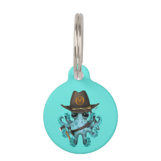 Blue Baby Octopus Zombie Hunter Pet Name Tag