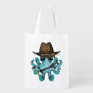 Blue Baby Octopus Zombie Hunter Reusable Grocery Bag