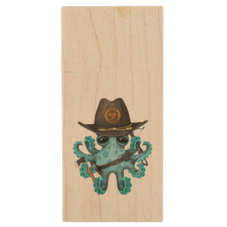 Blue Baby Octopus Zombie Hunter Wood USB Flash Drive