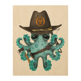 Blue Baby Octopus Zombie Hunter Wood Wall Decor