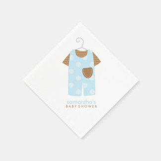 Blue Baby Outfit Baby Shower Paper Napkin