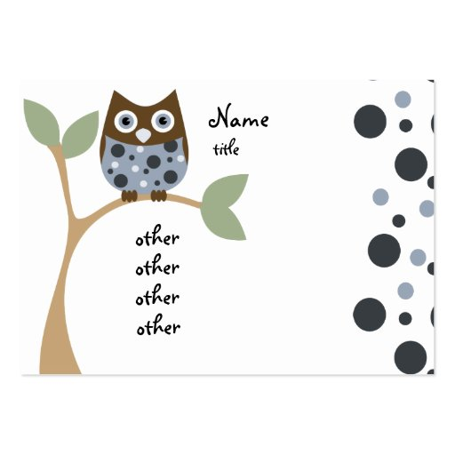 Blue Baby Owl Large Business Cards (Pack Of 100)