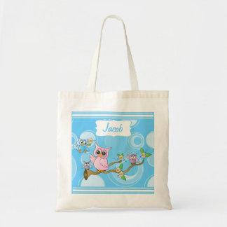 Blue Baby Owl Nursery Theme Canvas Bags