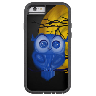 Blue baby owl on yellow moon background tough xtreme iPhone 6 case