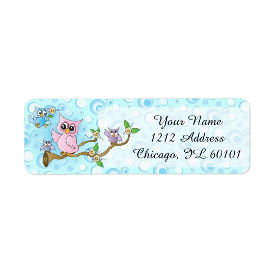 Blue Baby Owl | Shower Theme Return Address Label