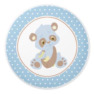 Blue Baby Panda Bear Polka Dot Ceramic Knob