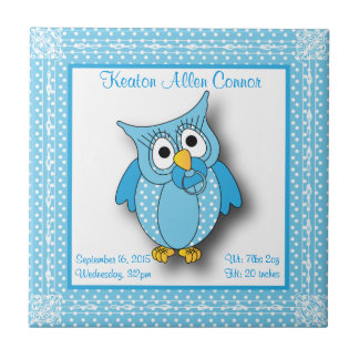 Blue Baby Polka Dotted Owl Ceramic Tile