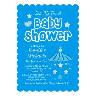 Blue Baby Shower 13 Cm X 18 Cm Invitation Card