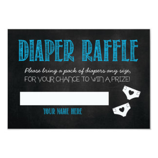 Blue Baby Shower Diaper Raffle Ticket Card