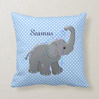 blue baby shower elephant throw pillow