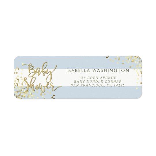 Blue Baby Shower   Gold Confetti & Calligraphy Return Address Label