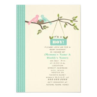 Blue Baby Shower Mommy & Daddy Birds & Nest Card