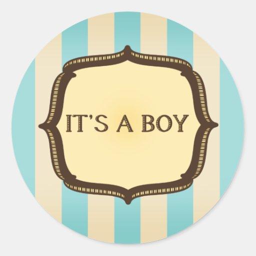 Blue Baby Shower Sticker - Vintage Stripes