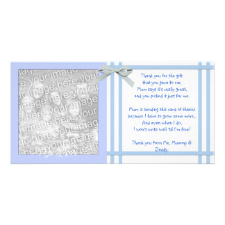 Blue Baby Shower Thank You Card from baby boy Photo Card